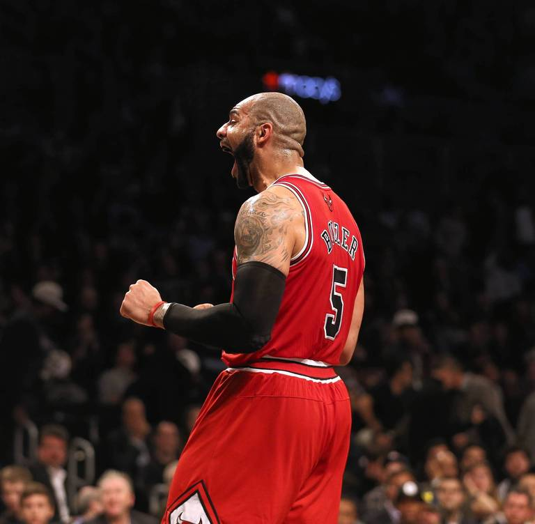 Carlos Boozer reacts to a call during the Bulls win over the Nets in Game 2. (Nuccio DiNuzzo, Chicago Tribune)