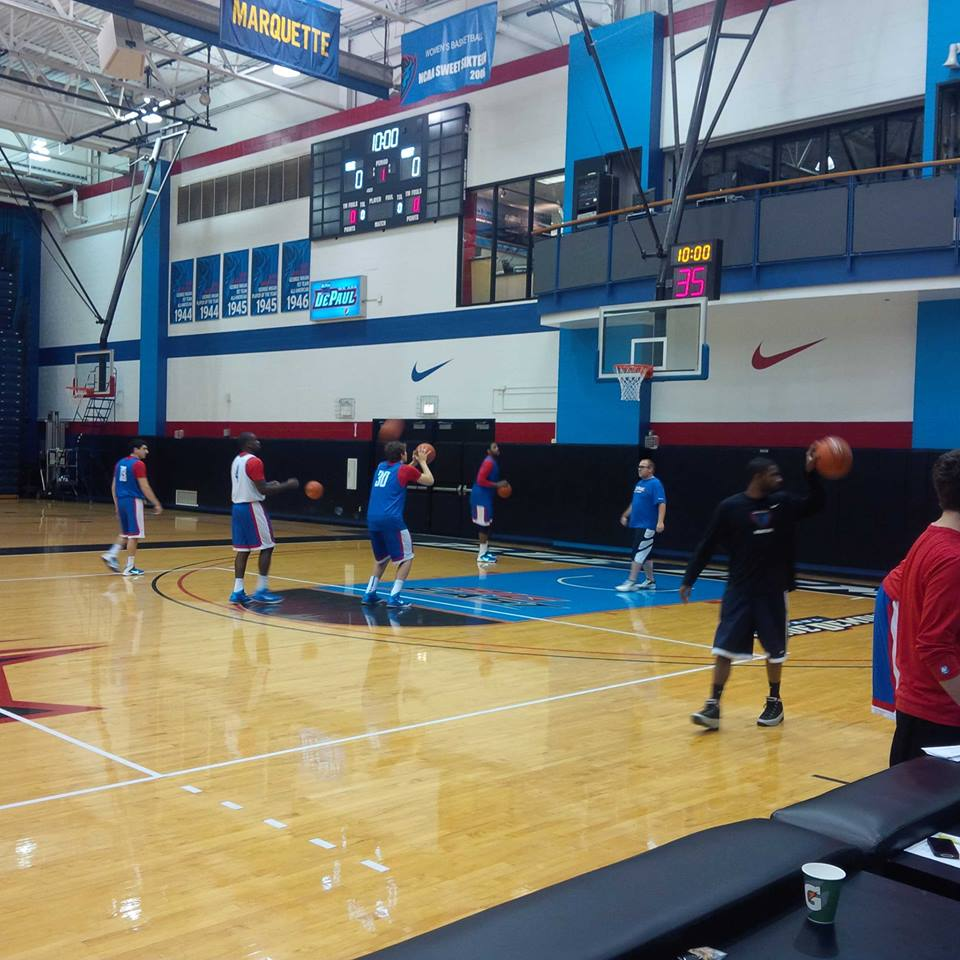 The Blue Demons take the court for practice at the McGrath-Phillips Arena