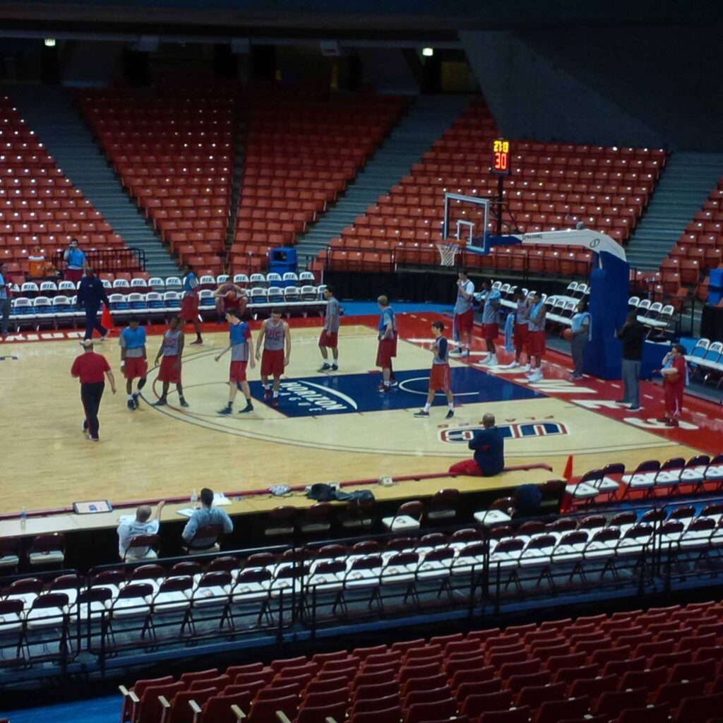 The Flames practice at the UIC Pavilion