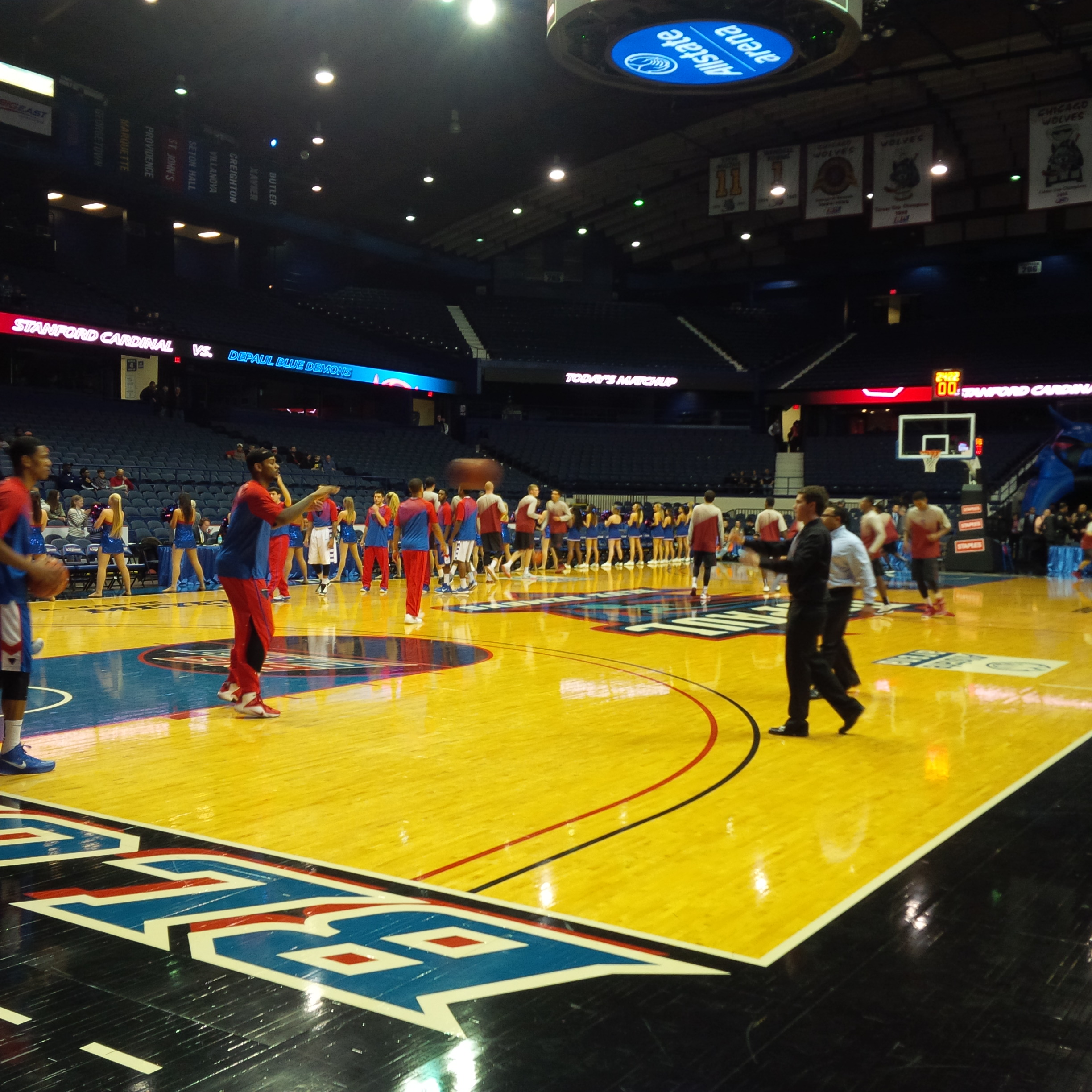 DePaul and Stanford warm up before Sunday's game.