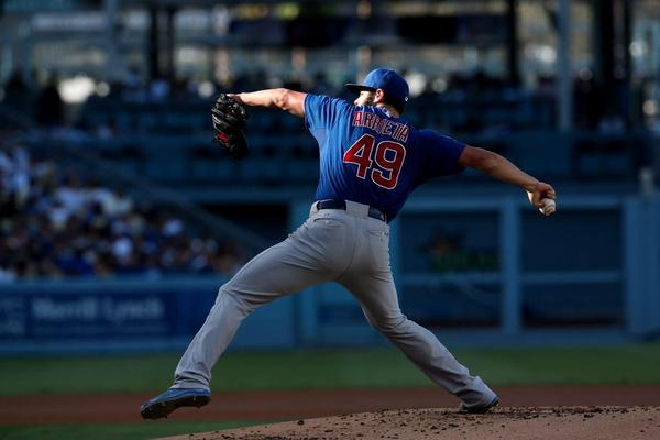 Jake Arrieta has thrown a no-hitter vs. the Los Angeles Dodgers.