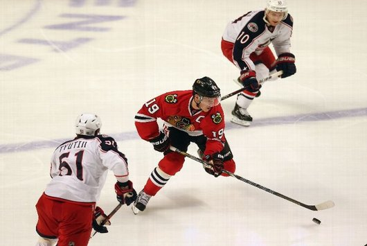 Jonathan Toews moves the puck against Columbus Friday (Getty Images)