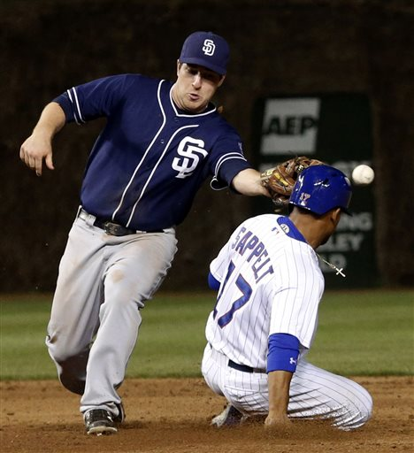 Chicago Cubs' Dave Sappelt, right, steals second after San Diego Padres second baseman Jedd Gyorko was unable to field a throw from catcher Nick Hundley during the sixth inning of a baseball game, Tuesday, April 30, 2013, in Chicago. (AP Photo/Charles Rex Arbogast)