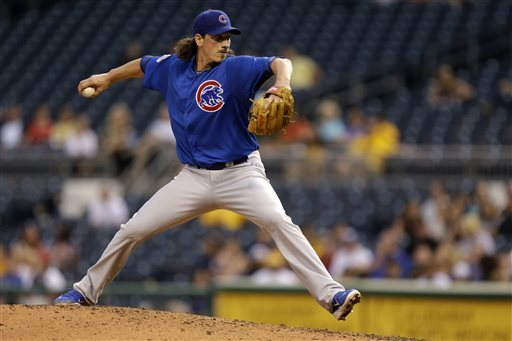 Chicago Cubs starting pitcher Jeff Samardzija delivers during the third inning of a baseball game against the Pittsburgh Pirates in Pittsburgh, Wednesday, May 22, 2013. (AP Photo/Gene J. Puskar)