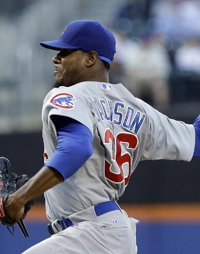 Chicago Cubs' Edwin Jackson (36) delivers a pitch during the first inning of a baseball game against the New York Mets, Friday, June 14, 2013, in New York. (AP Photo/Frank Franklin II)
