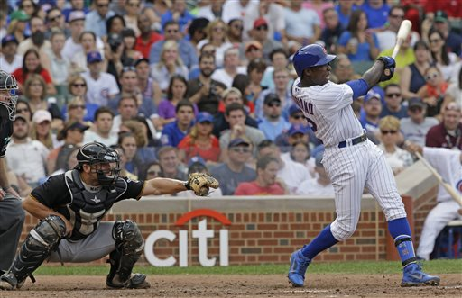 Chicago Cubs' Alfonso Soriano hits a two-run home run during the fifth inning of a baseball game against the Pittsburgh Pirates in Chicago, Saturday, July 6, 2013. (AP Photo/Nam Y. Huh)