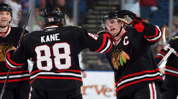 The Chicago Blackhawks look to keep both Patrick Kane, 88, and Jonathan Toews, right (Scott Audette/Getty Images)