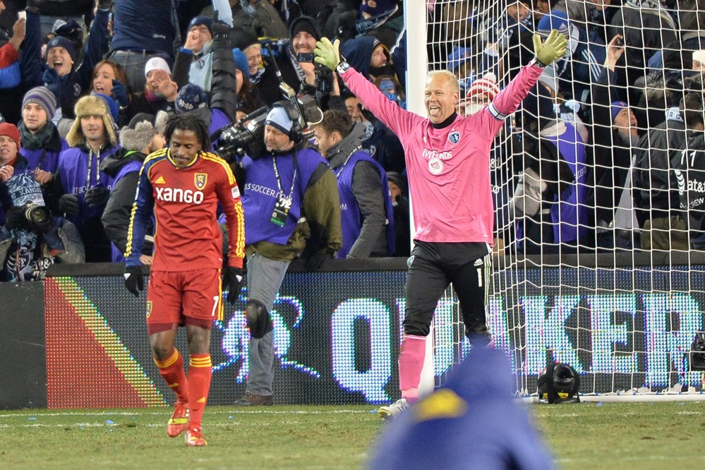 Kansas City's Jimmy Nielsen celebrates winning the 2013 MLS Cup after Palmer misses the PK