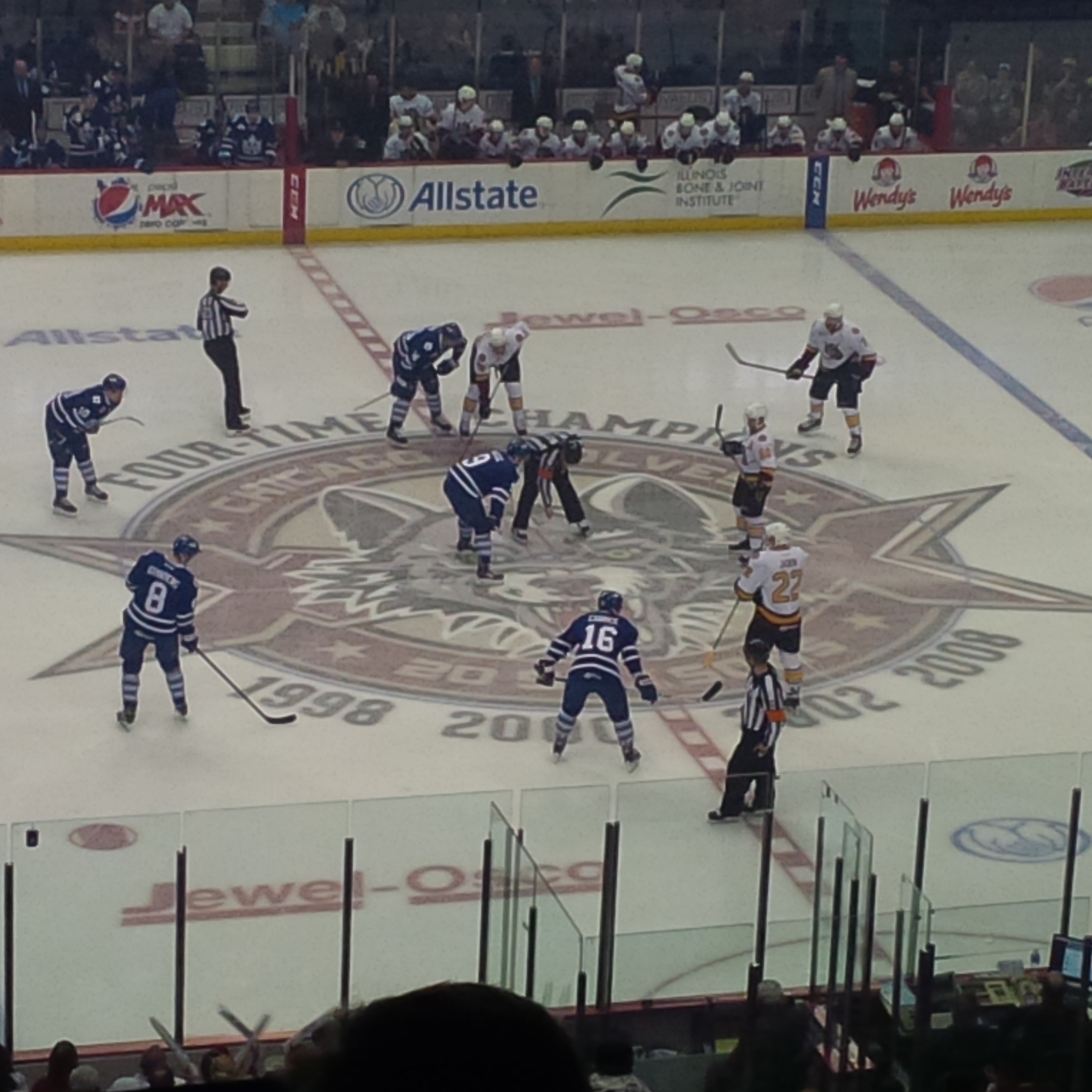 The opening face off for game two.