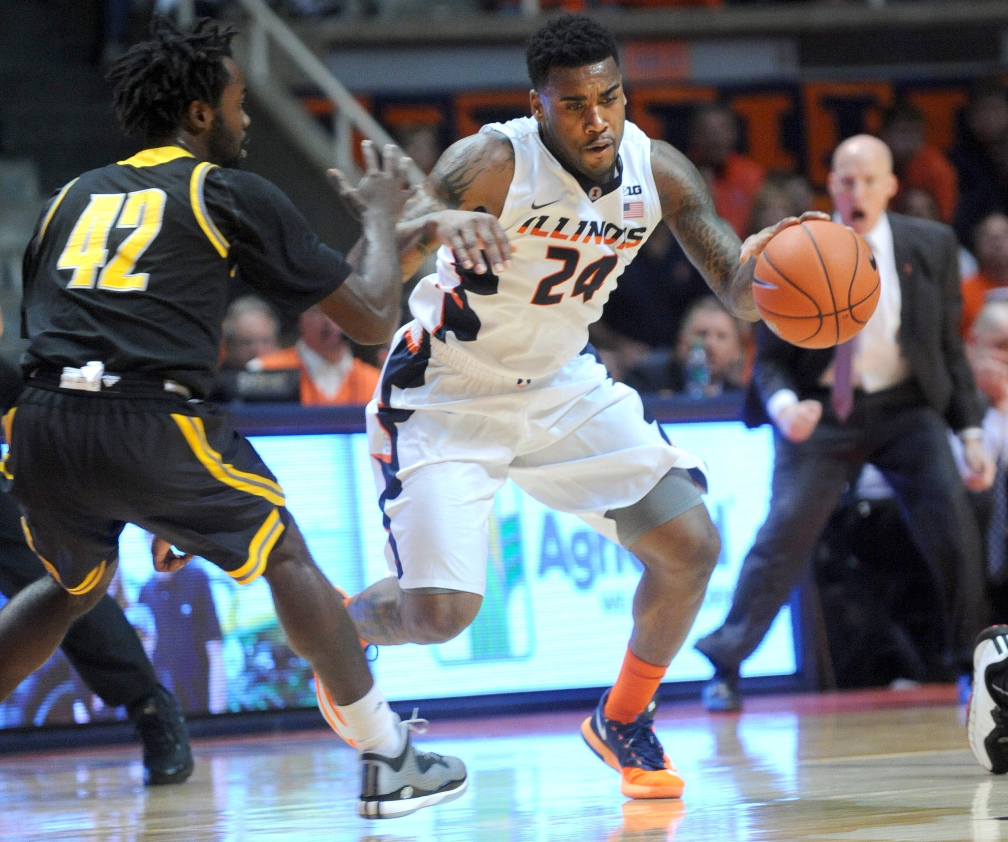 Illinois guards Rayvonte Rice (pictured) and Aaron Cosby remain on suspension.