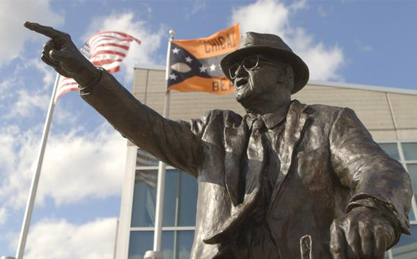 The Chicago Bears have unveiled the new George Halas statue.
