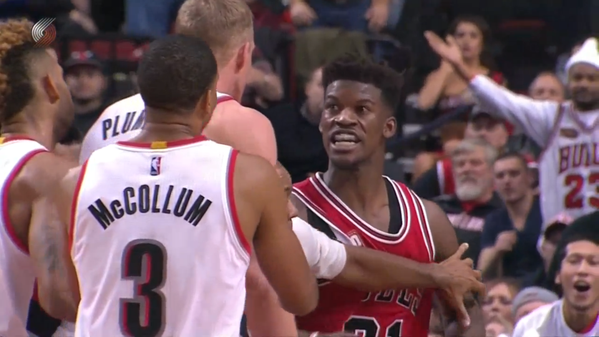 VIDEO: Jimmy Butler has eventful night against Portland Trailblazers